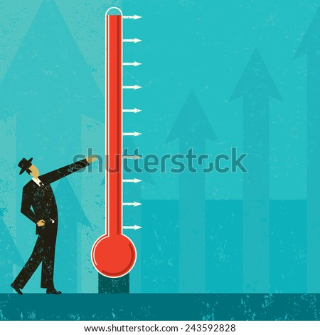 Goal Thermometer A man measuring the progress of a large fund raising thermometer. The level of mercury is easy to move up and down. The thermometer & man and background are on separate labeled layers - stock vector
