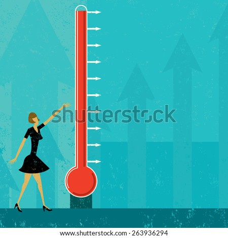Goal Thermometer A woman measuring the progress of a large fund raising thermometer. The level of mercury is easy to move up and down.  - stock vector