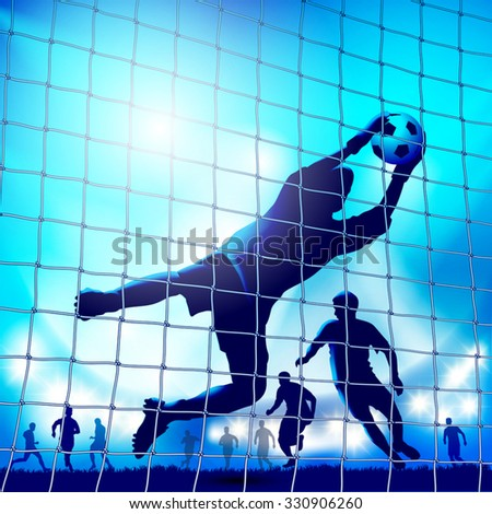 Goalkeeper in action. Catches the ball. Vector illustration - stock vector
