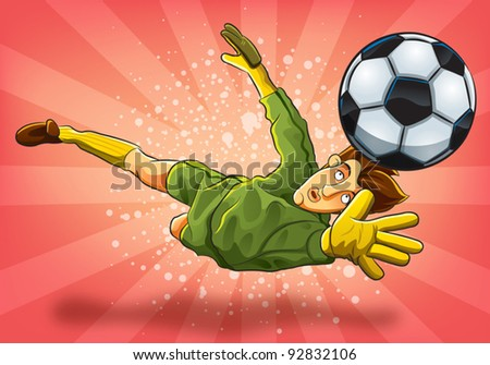 Goalkeeper Jump Catch a Ball (EPS 10 file version) - stock vector
