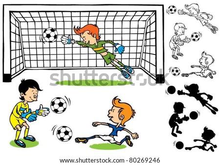 Goalkeeper soccer kids - stock vector