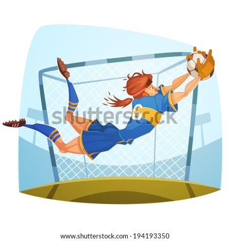 Goalkeeper. Soccer player. Vector image - stock vector
