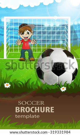 Goalkeeper stands in the football gate and waits for hitting the ball - stock vector