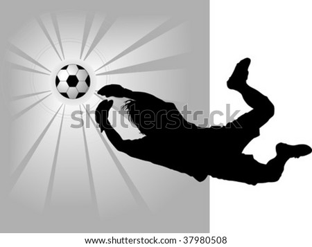goalkeeper - the dangerous moment at gate - stock vector
