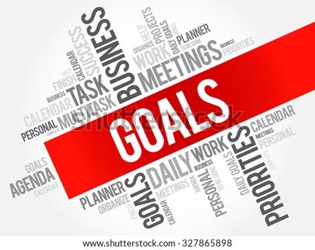 Goals word cloud business concept - stock vector