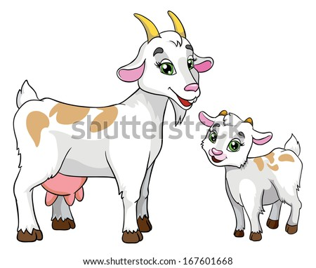 goat and kid, vector illustration on white background - stock vector