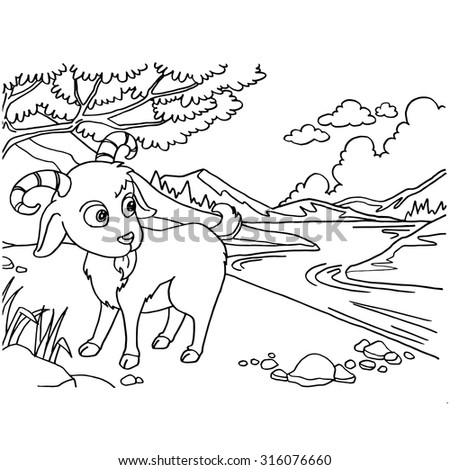 Goat Coloring Pages vector  - stock vector