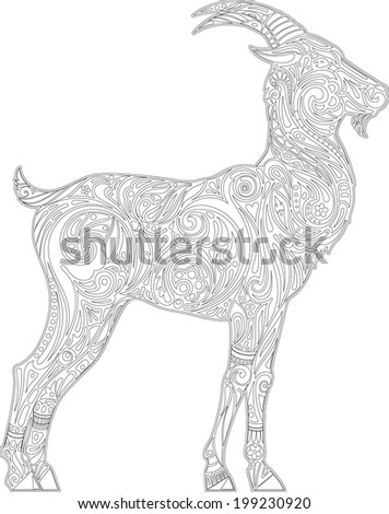 Goat (contour) - stock vector