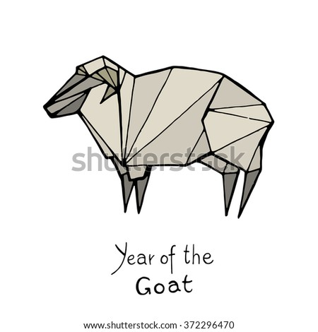 Goat origami, Chinese Zodiac. Hand drawn vector illustration