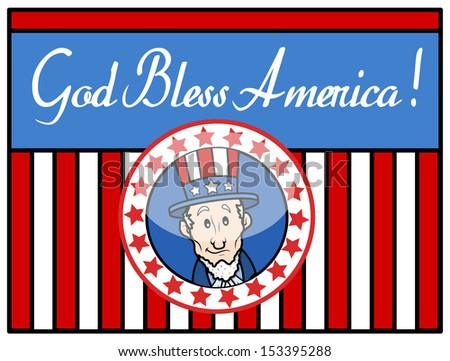 God Bless America - Uncle Sam - Background Vector - stock vector