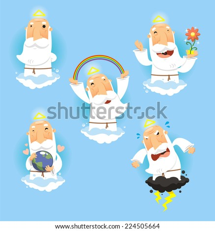 God in Heaven set, with God standing contemplating, God making a rainbow, God happy with nature, God embracing and holding the earth and angry and furious God. Vector illustration cartoon. - stock vector