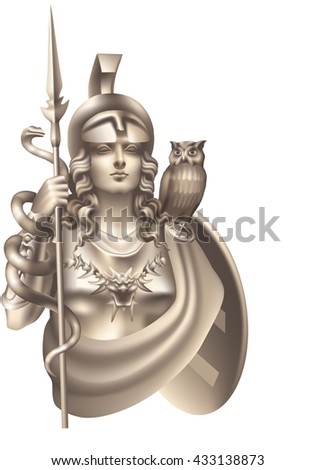 Goddess Athena with a snake and an owl on a white background
