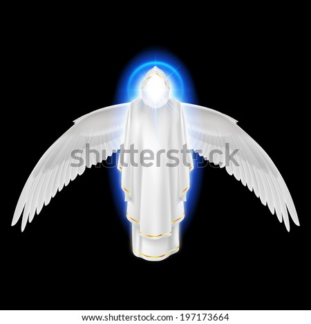 Gods guardian angel in white dress with blue radiance and wings down on black background. Archangels image. Religious concept - stock vector