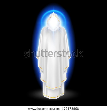 Gods guardian angel in white dress with blue radiance.  Religious concept - stock vector