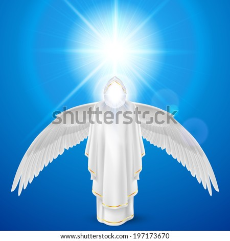 Gods guardian angel in white dress with wings down against sky background and bright sun flare. Religious concept - stock vector