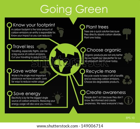 Going green infographic - stock vector
