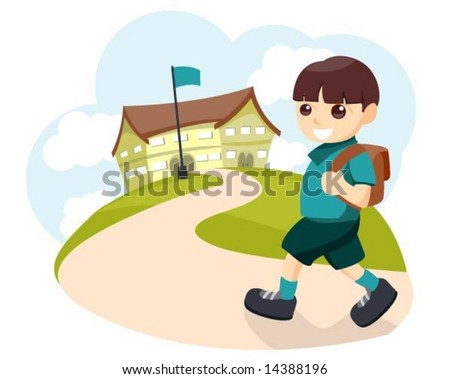 Going to School - Vector