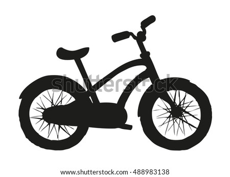 Going two-wheeled simple bicycle isolated on white backdrop. Side view. Black ink hand drawn background sketchy in art style pen on paper with space for text