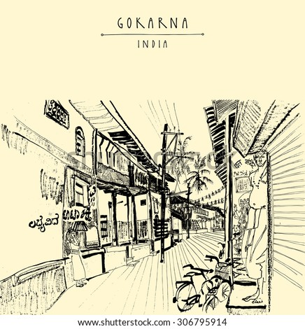 Gokarna village, India. Vector artistic drawing. Travel sketch. Men standing in a narrow street on Shivaratri day. Travel postcard, poster or coloring book page with Gokarna, India hand lettering - stock vector