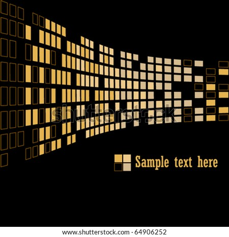 Gold abstract background on black, vector illustration - stock vector