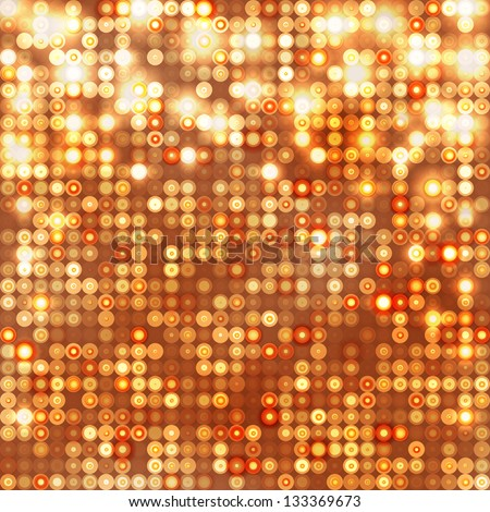 Gold abstract sparkling disco background with circles