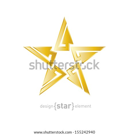 Gold Abstract star with arrows vector design element. Company logo template. - stock vector