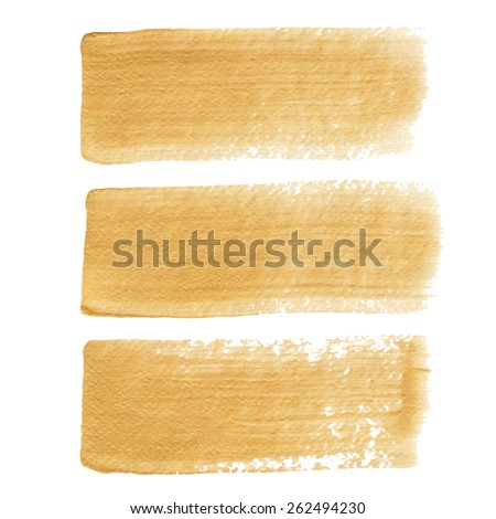 Gold acrylic vector brush strokes