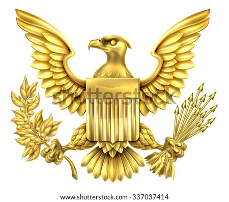 Gold American Eagle Design with bald eagle of the United States holding an olive branch and arrows with American flag shield - stock vector