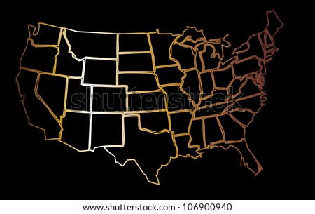 gold american maps - stock vector