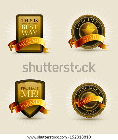 Gold and black badge and banner set with ribbon. Elements are layered separately in vector file. - stock vector