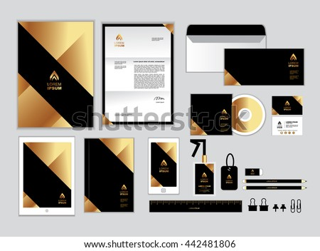 gold black corporate identity template your stock vector 442481806 shutterstock. Black Bedroom Furniture Sets. Home Design Ideas
