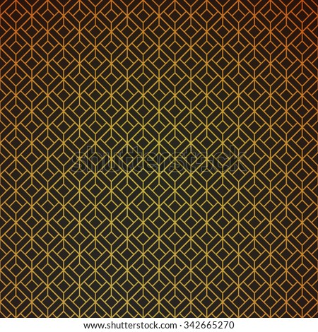Gold and black geometric retro abstract seamless cube pattern with rhombuses, square for vintage party. Wrapping paper. Scrapbook paper. Vector illustration. Art deco Background. Texture.  - stock vector