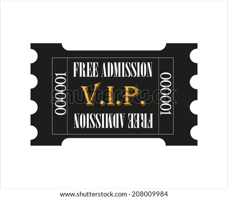 gold and black VIP admission ticket - vector - stock vector