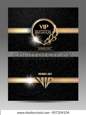 Gold and black VIP invitation envelope  with floral design elements and textured background. Front and back sides. Vector illustration - stock vector