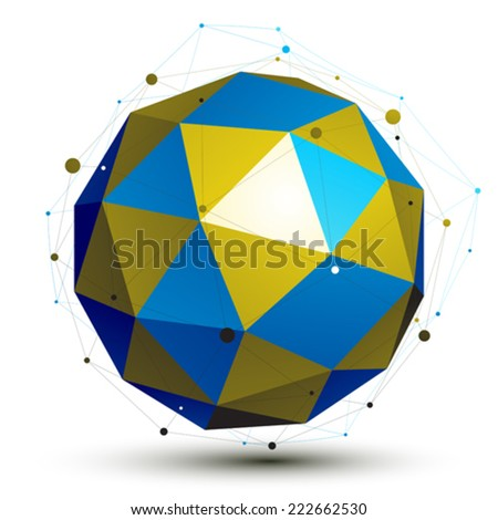 Gold and blue abstract technological 3D vector object, colorful art spherical wireframe figure. - stock vector