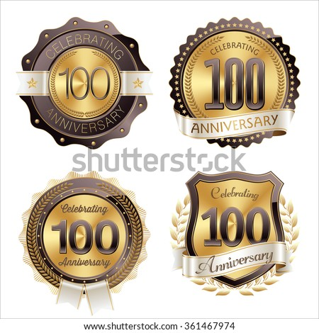 Gold and Brown Anniversary Badges 100th Years Celebrating.