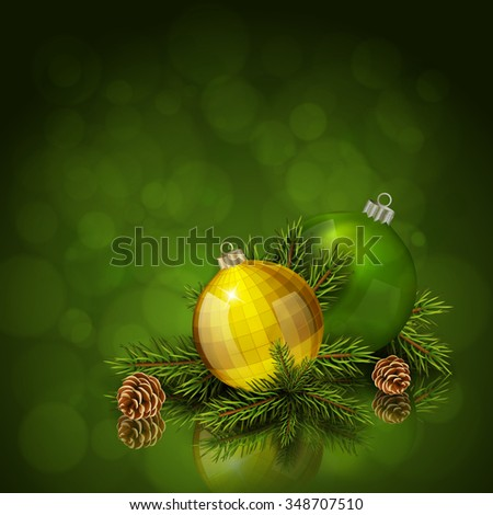 Gold and green Christmas balls with fir tree branch on green bokeh background. Xmas greeting card. Vector eps10 illustration - stock vector