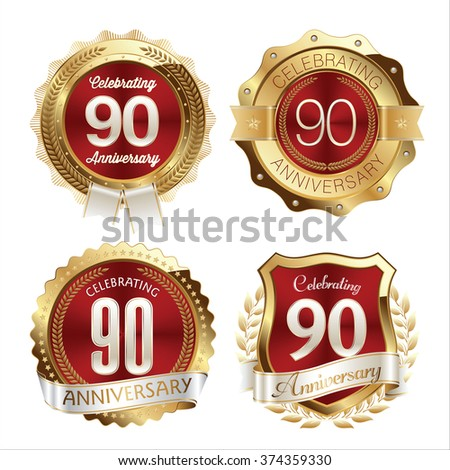 Gold and Red Anniversary Badges 90th Years Celebration