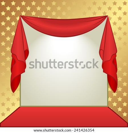 gold and red background with stars - stock vector
