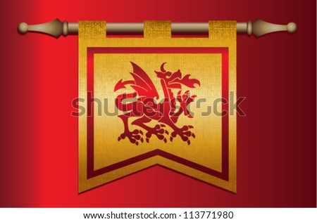 Gold and red medieval banner flag with cloth texture and symbol of a dragon - stock vector