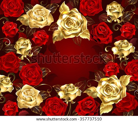 gold and red roses with golden leaves on a red background.