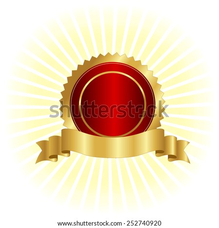 Gold and red seal / stamp with golden banner illustration isolated on white  - stock vector