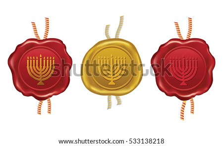 gold and red wax seal with hanukkah menorah