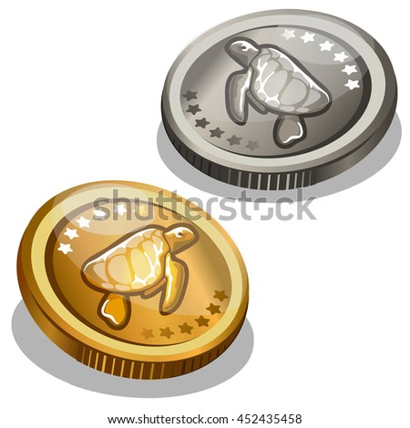 Gold and silver coin with the image of a turtle. Vector illustration.