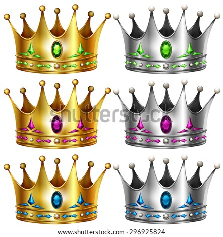 Gold and silver crowns with gems - stock vector
