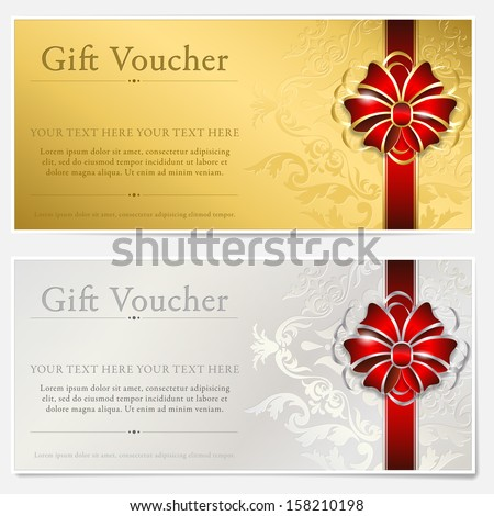 Gold and silver gift voucher - stock vector