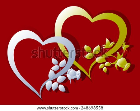 Gold and silver hearts with rose buds. EPS10 vector illustration. - stock vector