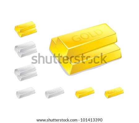 Gold and Silver Ingot Stack Icon Set Isolated on White Background. Vector Illustration - stock vector