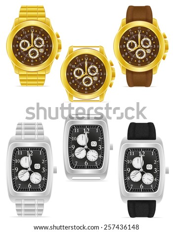 gold and silver mechanical wristwatch vector illustration isolated on white background - stock vector