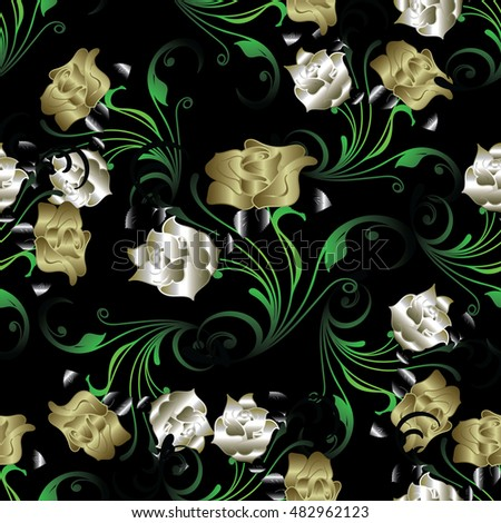 Gold And Silver Roses Elegant Floral Vector Seamless Pattern Background Wallpaper Illustration With Vintage